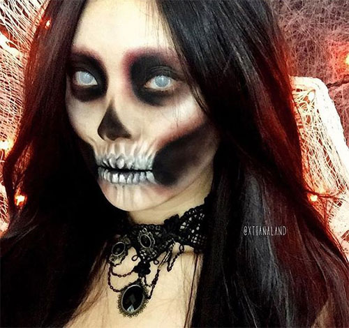 20-Creepy-Skull-Skeleton-Halloween-Makeup-Ideas-Trends-Looks-2019-15
