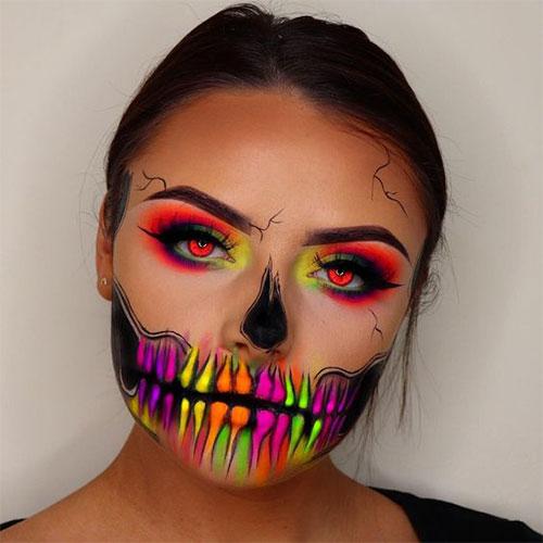 10-Amazing-Neon-Face-Paint-Makeup-Ideas-For-Halloween-2019-4
