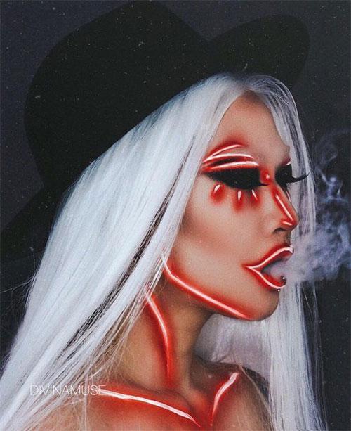 10-Amazing-Neon-Face-Paint-Makeup-Ideas-For-Halloween-2019-7
