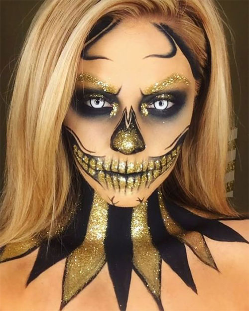 15-Best-Horror-Halloween-Gold-Makeup-Looks-Styles-Ideas-2019-1