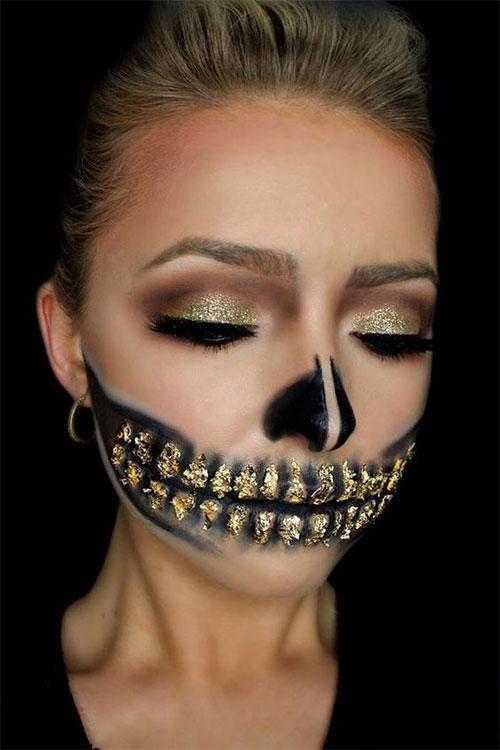 15-Best-Horror-Halloween-Gold-Makeup-Looks-Styles-Ideas-2019-10