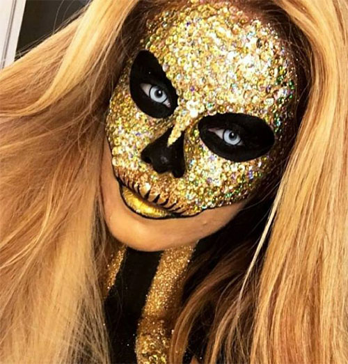 15-Best-Horror-Halloween-Gold-Makeup-Looks-Styles-Ideas-2019-15
