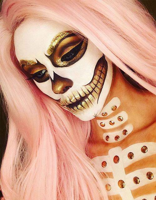 15-Best-Horror-Halloween-Gold-Makeup-Looks-Styles-Ideas-2019-16