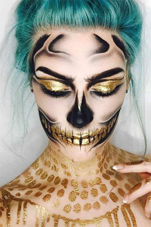 15-Best-Horror-Halloween-Gold-Makeup-Looks-Styles-Ideas-2019-3