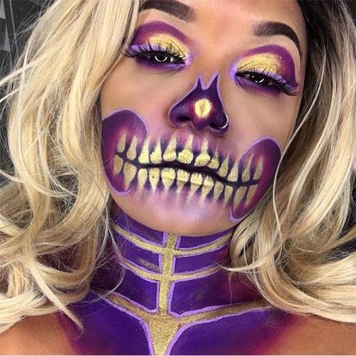 15-Best-Horror-Halloween-Gold-Makeup-Looks-Styles-Ideas-2019-4