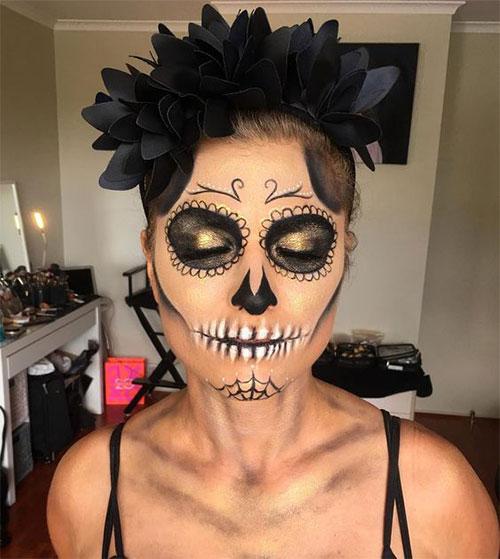 15-Best-Horror-Halloween-Gold-Makeup-Looks-Styles-Ideas-2019-5
