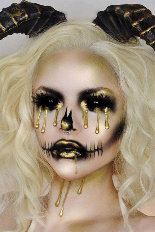 15-Best-Horror-Halloween-Gold-Makeup-Looks-Styles-Ideas-2019-6