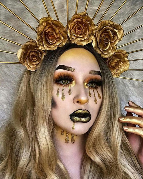 15-Best-Horror-Halloween-Gold-Makeup-Looks-Styles-Ideas-2019-7