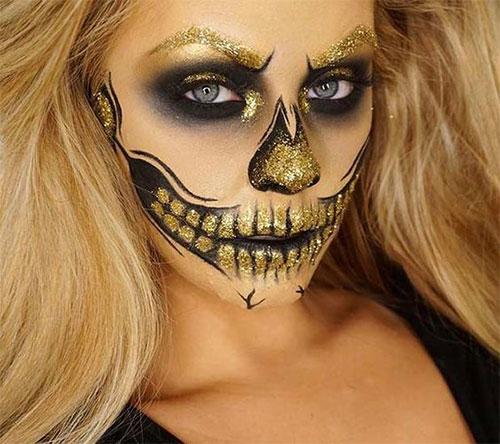 15-Best-Horror-Halloween-Gold-Makeup-Looks-Styles-Ideas-2019-9