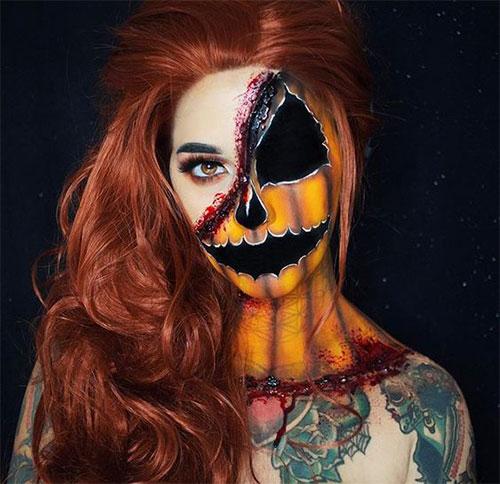 15-Scary-Pumpkin-Jack-o-Lantern-Halloween-Face-Makeup-Ideas-Looks-2019-6