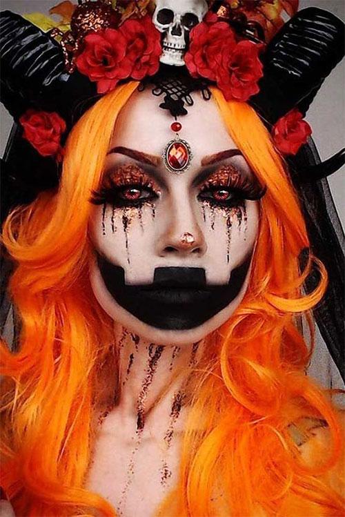 15-Scary-Pumpkin-Jack-o-Lantern-Halloween-Face-Makeup-Ideas-Looks-2019-7