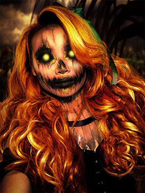 15-Scary-Pumpkin-Jack-o-Lantern-Halloween-Face-Makeup-Ideas-Looks-2019-9